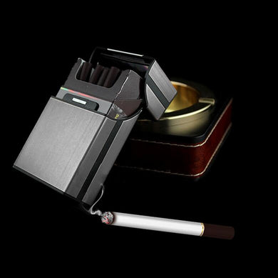 Gray Aluminum Metal Cigar Cigarette Box Holder Pocket Tobacco Storage Case S