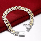 H091 925 silver bracelets for men Stamped 925 and golden link chains square clasp women bracelet bangle jewelry bouddhiste