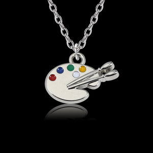 Creative Painting Color Palette Necklace Silver Handmade Paint Plate DIY Pendants Necklaces For Painter's Gifts Women Girls