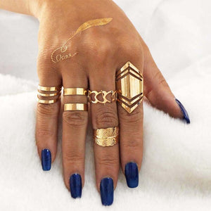 Hesiod 5pcs/Sets Gold Color Alloy Finger Midi Ring Sets Boho Metal Feather Knuckle Ring Set Punk Jewelry Beach Travel Jewellery