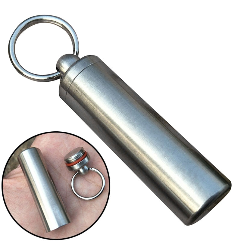High Quality Waterproof Stainless Steel Pill Capsule Seal Bottle Container Keychain Portable Box Case Outdoor Emergency Tools