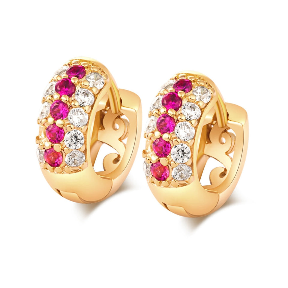 Hoop Earrings For Women Fashion Ear Jewelry Trendy Gold-Color Multicolor Crystal Statement Party Earrings
