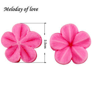 Hot 2 Pcs\set Plum Petal Flower Leaf Veiner Silicone Mould Wedding party Cake Decorating tools Fondant Mold T0849