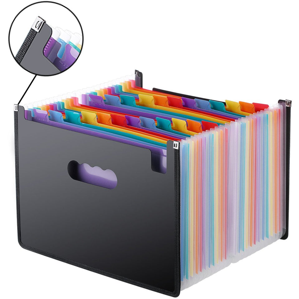 24 Pockets Expanding File Folder A4 Organizer Portable Business File Office Supplies Document Holder Carpeta Archivador