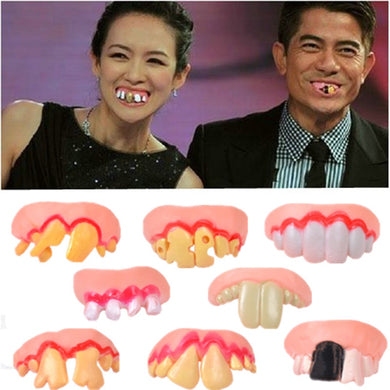 8Pcs Funny Gift Costume Party Ugly Gag Fake Teeth Funny Freaky Front Teeth Comfortable Wearing Party Game Accessory
