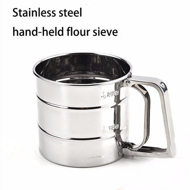 Stainless steel hand-held fine mesh flour thickened manual icing sugar sieve baking tools kitchen cooking appliances