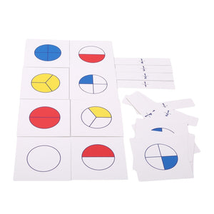 Hot Selling 1Set Colorful Kids Children Montessori Math Teaching Aids Digital Fraction Cards Educational Math Toys