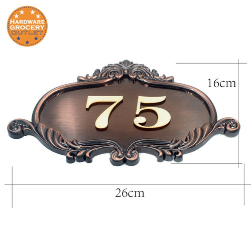 House Number European style Door Sign,Gate Number Custom-made Apartment Villa door plates Any Letters, Symbols, House, Hotel
