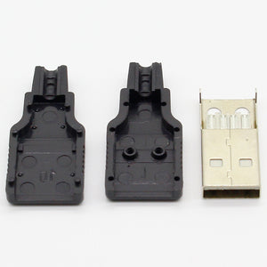 IMC hot 10pcs Type A Male USB 4 Pin Plug Socket Connector With Black Plastic Cover