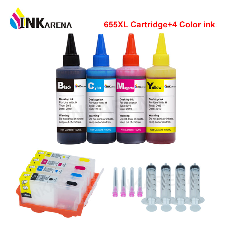 INKARENA 655XL Compatible for HP 655 Refillable ink Cartridge Deskjet ink advantage 4625 4615 3525 5525 + 4 Bottle Printer Ink