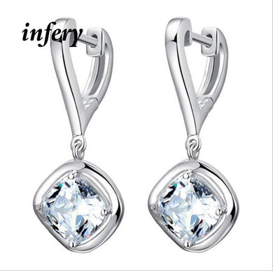 Infery Style Korea Star 925 Sterling Silver Crystal Earrings Princess Female Jewelry for Women Girls Party Accessories 1Y223