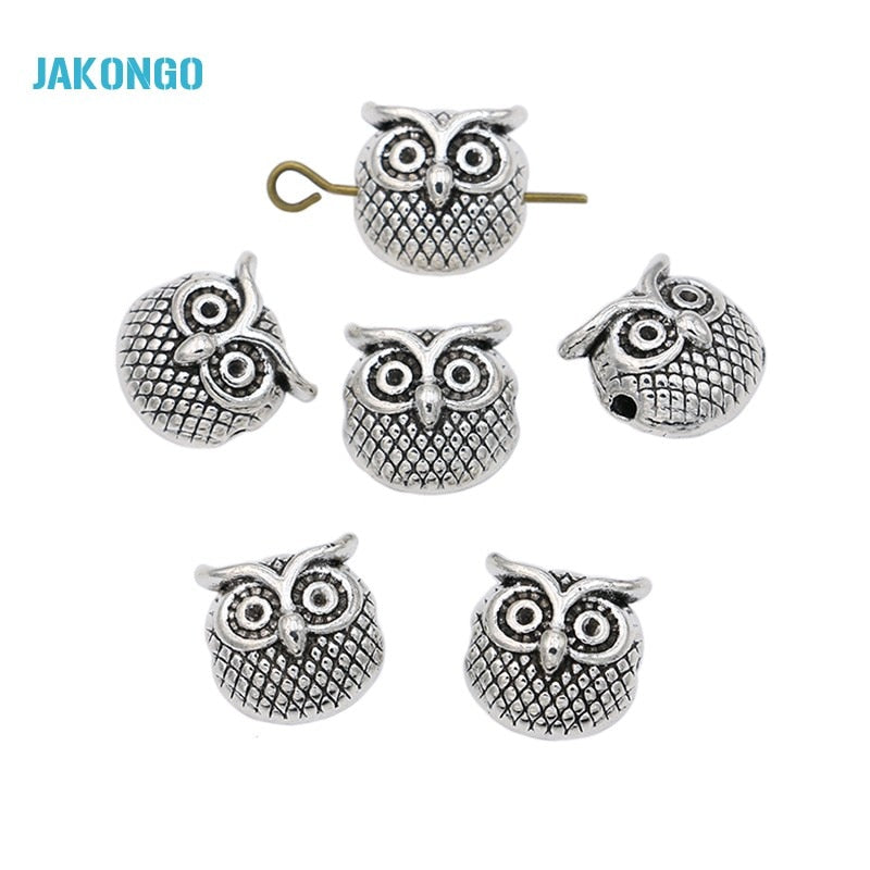 JAKONGO Antique Silver Plated Owl Spacer Beads Loose Beads for Jewelry Making Bracelet Jewelry Accessories Handmade Craft 10pcs