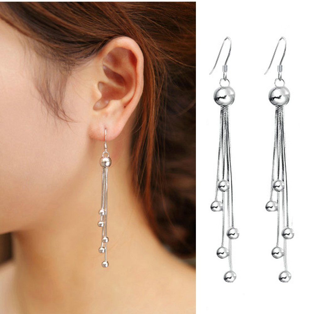Jiayiqi 2017  Fashion Retro Earring Best Gift Silver Three wire pendant tassels Earrings For Women Gift
