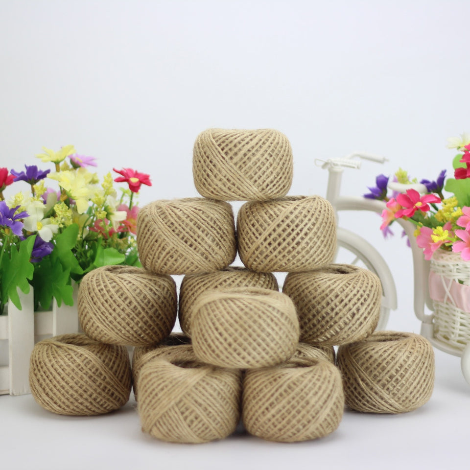 Jute Twine 30Meter Natural Sisal 2mm Rustic Tags Wrap Wedding Decoration Crafts Twisted Rope String Cord Events Party Supplies