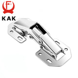 KAK 90 Degree Cabinet Hinges 3 Inch No-Drilling Hole Bridge Shaped Spring Hinge Cupboard Door Furniture Hardware With Screws