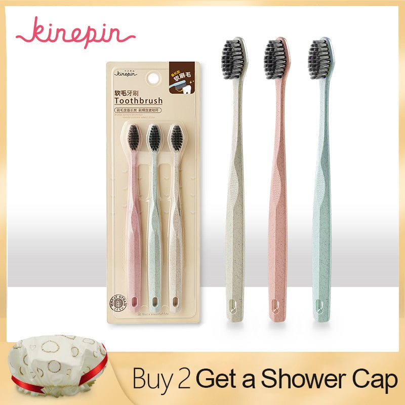 KINEPIN 3pcs Eco Friendly Wheat Straw Toothbrush Tooth Cleaning Soft Slim Tip Binchotan Charcoal Bristle Brush Adult Teeth Brush