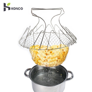 KONCO French Fries Strainer Net Stainless Steel Foldable Steam Rinse Strain for Fried Foods Basket Kitchen Tools