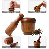 KONCO Wooden Mortar and Pestle Set, Minced Garlic & Ginger Mills Masher, Fresh Chopped Garlic Graters for Spice Grinders