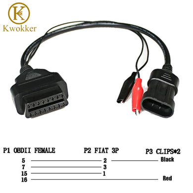 KWOKKER OBD 2 for Fiat Alfa Lancia 3 Pin To OBD 2 Diagnostic Adapter Connector Extension Cable 16 Pin Female Good Quality