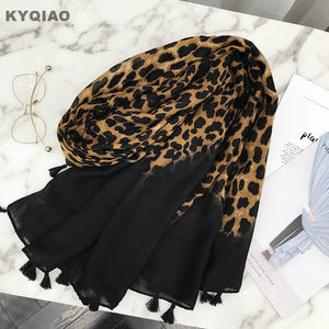 KYQIAO Designer scarf 2019 women autumn spring Spain style fashion sexy long leopard print scarf muffler ladies office scarves