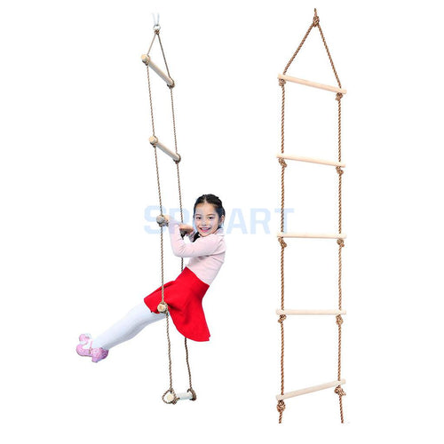 Kids Indoor and Outdoor Playhouse Wooden 5 Rungs 300KG Rope Climbing Ladder Garden Game Sports Toy