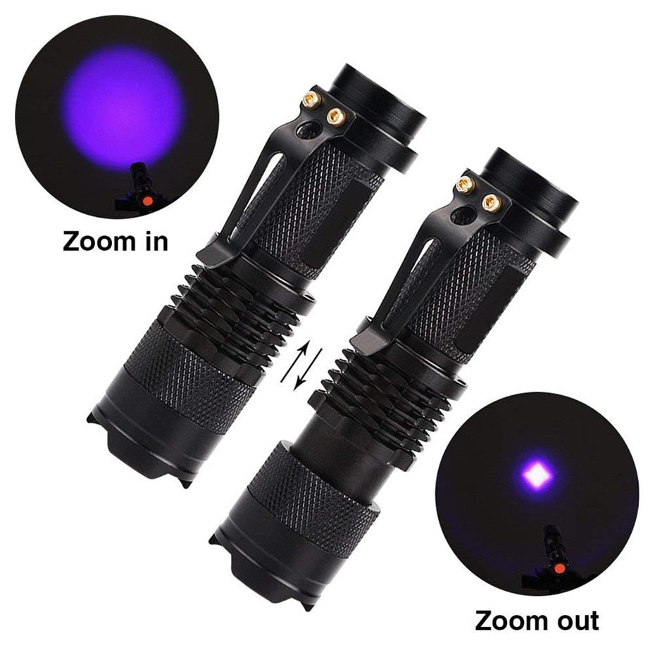 LED UV Flashlight Ultraviolet Torch With Zoom Function Mini UV Black Light Pet Urine Stains Detector Scorpion Hunting