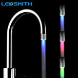 LED Water Faucet Stream Light 7 Colors Changing Glow Shower Tap Head Pressure Sensor Bathroom Temperature Kitchen Accessories