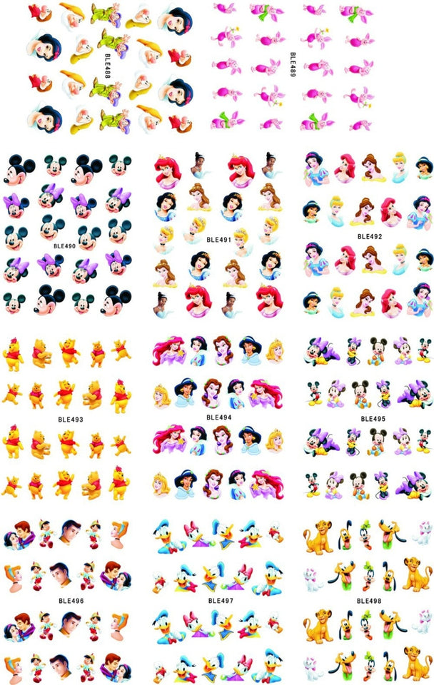 Large(1Set=11Sheets)BLE488-498 Cartoon Princess Nail Art Water Transfer Stickers Foils Watermark Decals DIY Beauty Nail Supplies