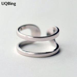 Latest Hot Unique Ring Sterling 925 Silver Rings Geometric Double Rings For Girl Women Gift Jewelry