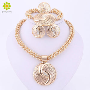 Latest Luxury Big Dubai Gold Color Crystal Necklace Jewelry Sets Fashion Nigerian Wedding African Beads Costume Jewelry