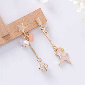 Lovely Asymmetric Deer Crown Crystal Long Drop Dangle Earrings for Girls Women Fashion Jewelry Gift  5A1034