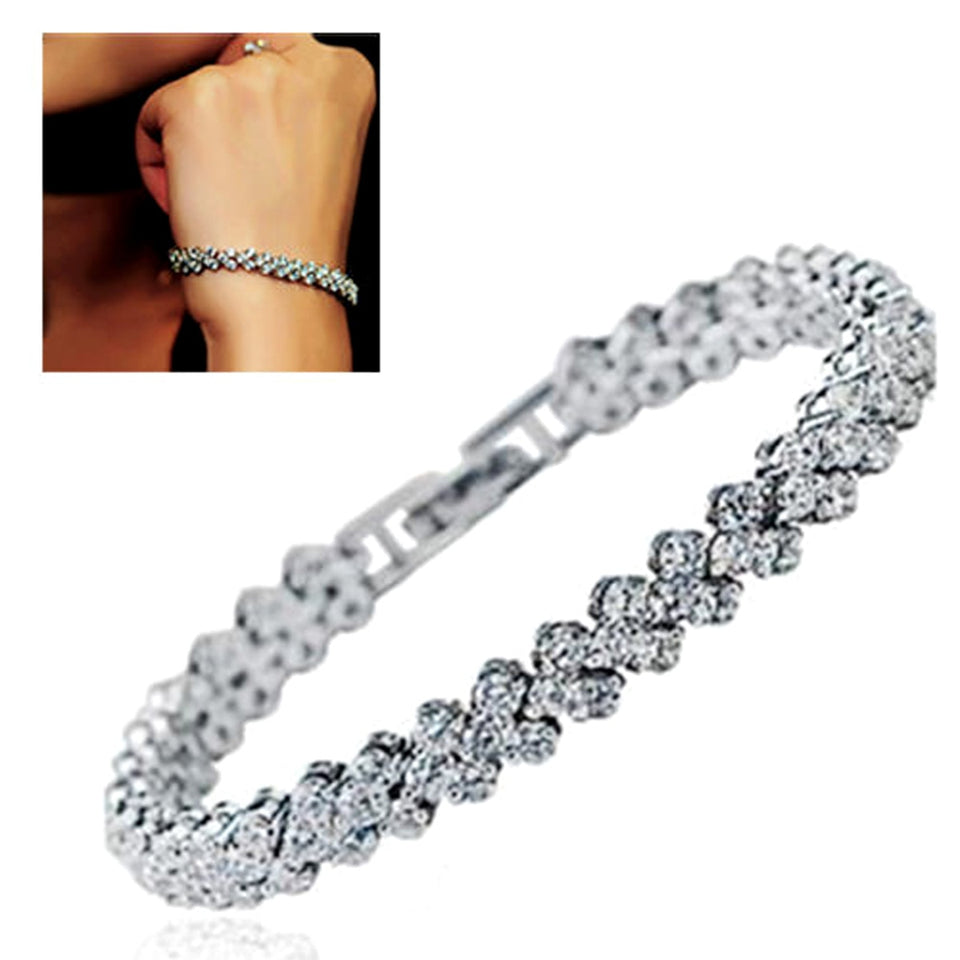 Crystal Bracelet For Women pulseira feminina Trendy Luxury Rhinestone Charm Bracelet Silver Bangle Wedding Jewelry For Bride