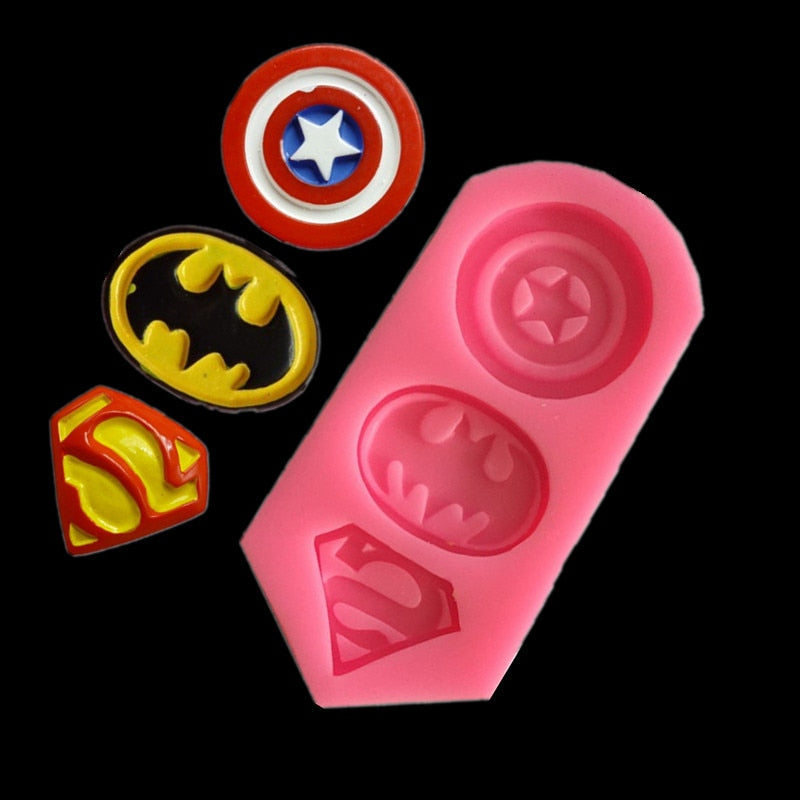 Luyou 3D Captain America Shield,Batman,Superman Shape Silicone Mold Cookie Fondant Cake Molds DIY Kitchen Baking Tools FM1520