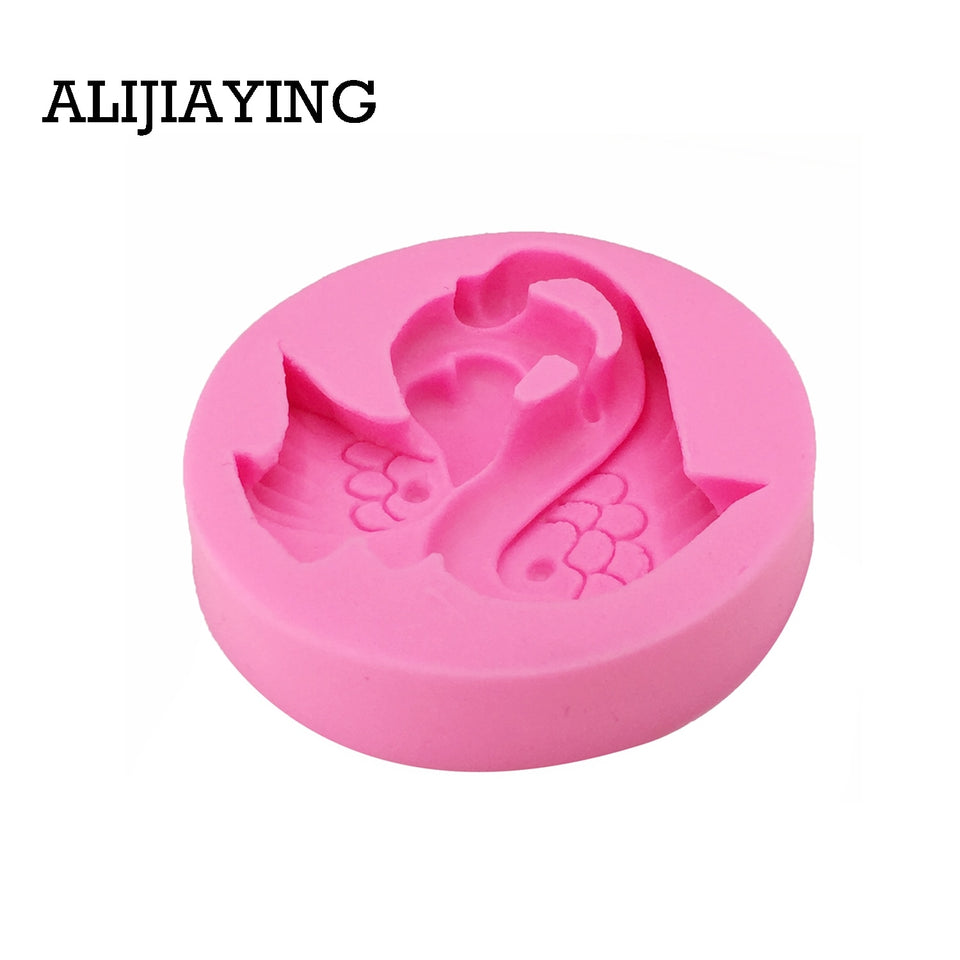 M1247 1Pcs Lovely Swan Shape 3D Fondant Silicone Mold Candle Chocolate Soap Moulds Wedding Cake Decorating Kitchen Baking