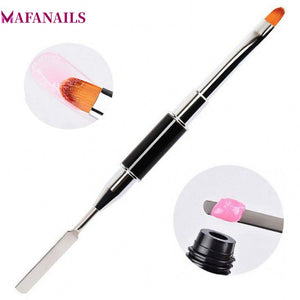 MAFANAILS 1pc UV PolyGel Poly Gel Nail Brush Dual-ended Slice Shape Tool For Nail Tips Extension Building TRP-15#