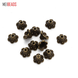 MEIBEADS 100pcs/lot 8mmx9mm Alloy Ancient Bronze Jewelry Accessories Bronze Receptacle Spacer UF5074