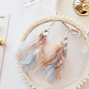 MENGJIQIAO 2018  Elegant Colorful Feather Tassel Earrings For Women Shiny Crystal Beads Dangle Pendientes Mujer Moda