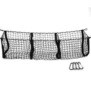 MICTUNING Three Pocket Trunk Cargo Organizer Storage Net Heavy Duty Cargo Net for Car SUV Pickup Truck Bed Black Mesh