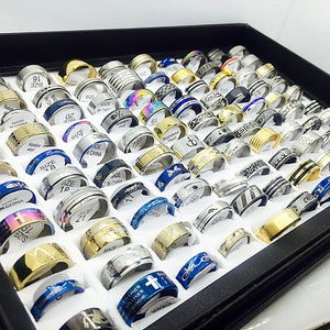 MIXMAX Fashion 100pcs stainless steel ring men women unisex set mixed metal silver gold Jewelry fashion  Lots bulk