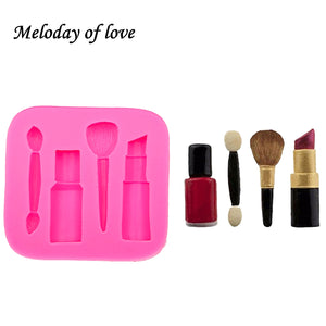 Makeup tools lipstick nail polish chocolate Party DIY fondant cake decorating tools silicone mold dessert moulds T0075