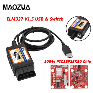 Maozua OBD2 ELM327 V1.5 USB Switch OBD Scanner for Focus ELM327 V1.5 Modified Open Hidden for Ford Forscan HS-CAN/MS-CAN