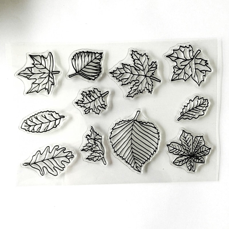 Maple Leaves Silicone Clear Stamps For Scrapbooking Album Photo DIY Decor