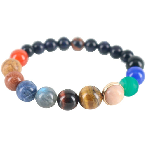 Men Beaded Strand Bracelets Universe Galaxy Planets Star Bracelets & Bangles Earth Natural Stones Powerful Couple Jewelry