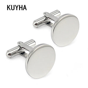 Men Metal Engrave Logo Custom Stainless Steel Round Cufflinks Blanks Silver Personalized Plain Cuff links Button Gemelos