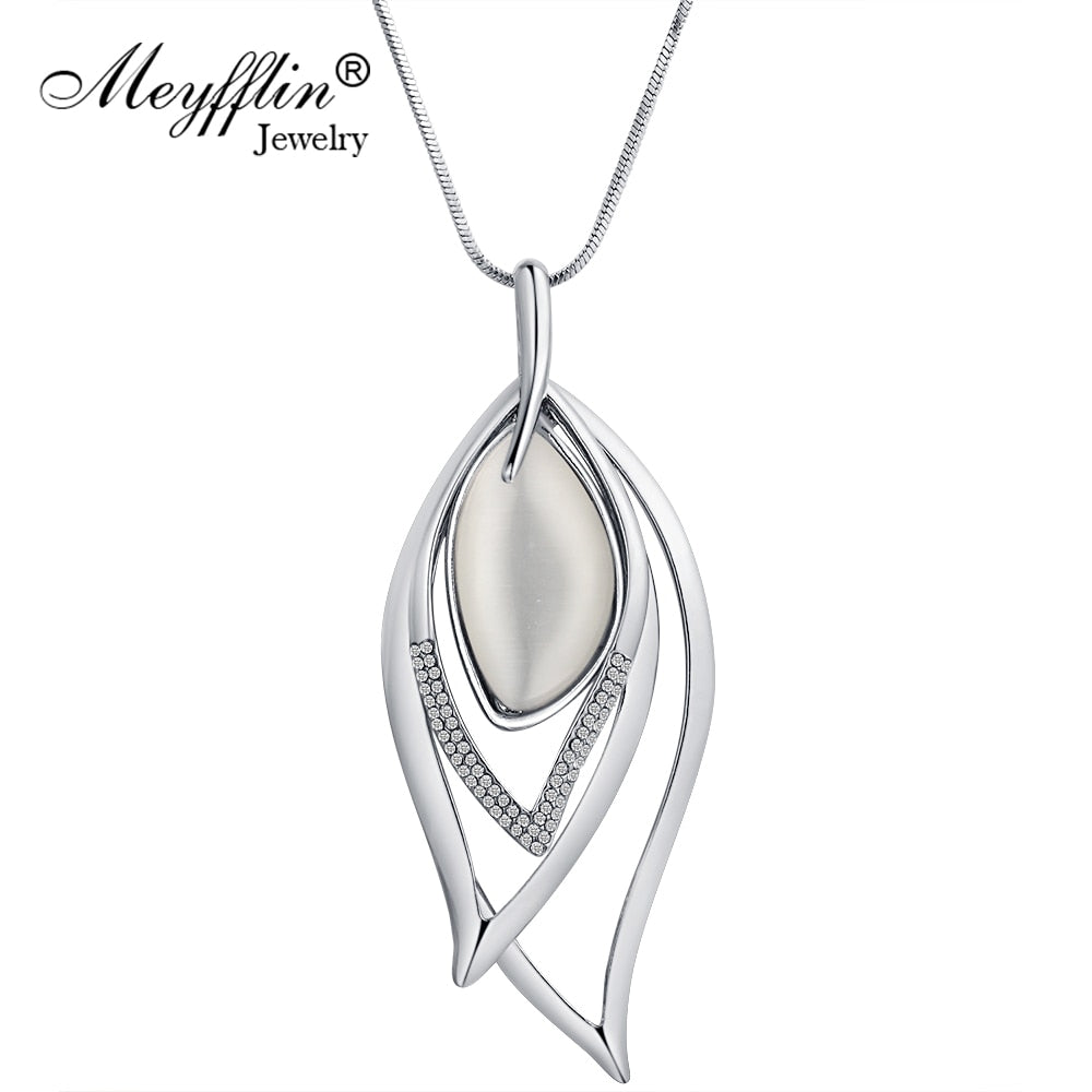 Meyfflin Long Necklaces & Pendants Vintage Silver Chain Crystal Opal Leaf Maxi Necklace Fashion Jewelry For Women Collier
