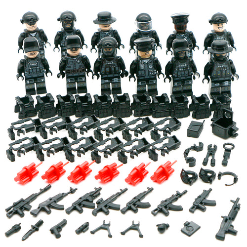 Military SWAT Team Builing Blocks Army Soldier Figure Gun Weapon Gas Mask Vest City Police Compatible WW2 Bricks Boys Toys