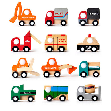 Mini Wood Vehicles Truck Toy Multi-pattern Creative Wooden Car Model Baby Kids Educational Gift Toy Random Color and design