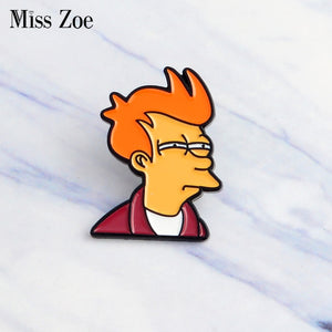 Miss Zoe Comics Cartoon Futurama Philip J. Fry Pins Lapel pins Denim Jacket Pin Buckle Shirt Badge Fashion icon Gift for Kids
