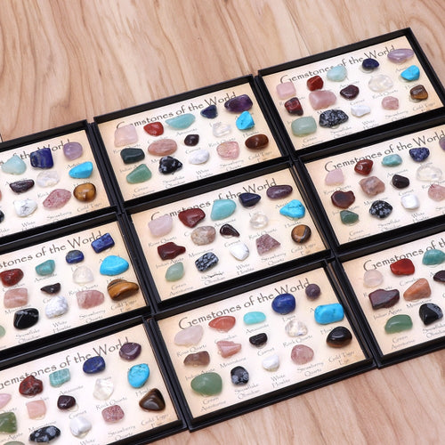 Multi Colors Rock Collection 15pcs Mixed Natural Mineral Ore Specimens with Box Jewelry Sets