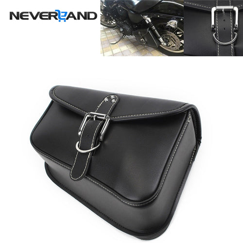 NEVERLAND Black Synthetic PU Leather Left Side Motorcycle Saddle Bags For Harley Sportster XL 883 XL 1200 Motor Saddlebag D25